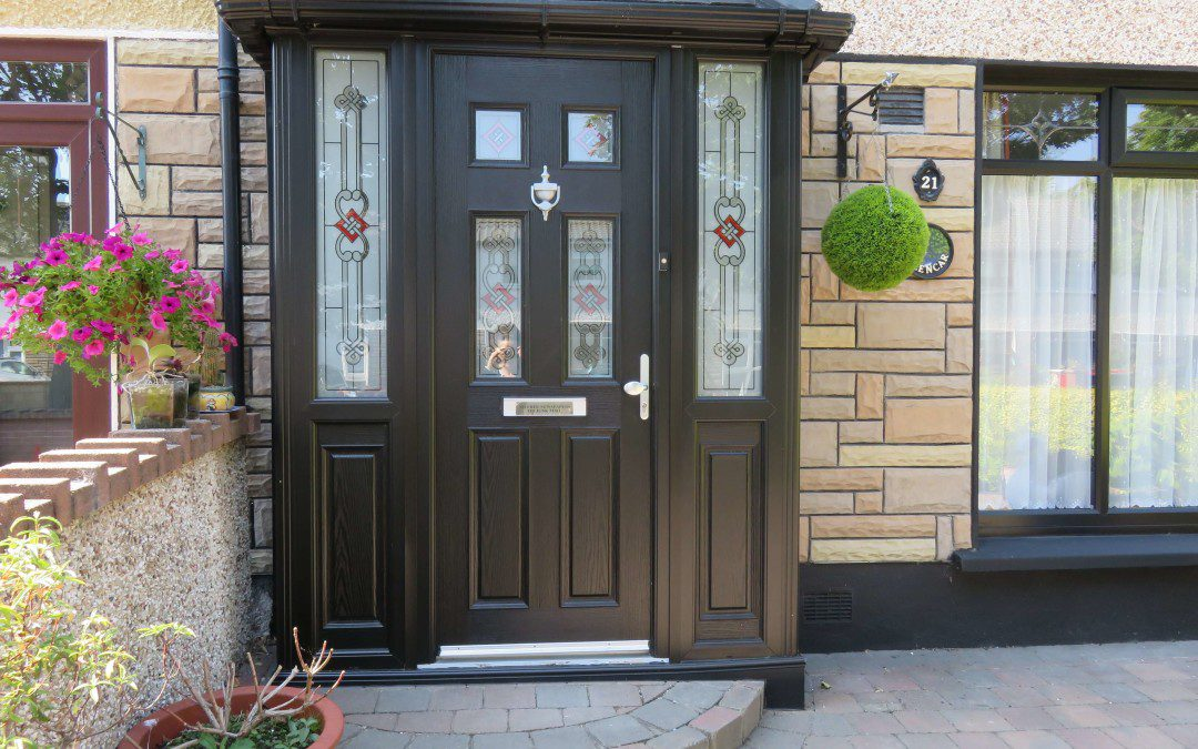 triple glazed composite door with decorated glass design