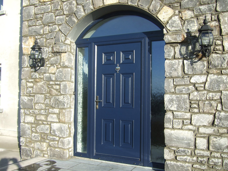 tri windows style doors on the side and above the door