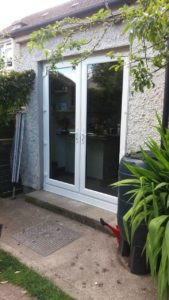 double doors with fully tinted glass windows