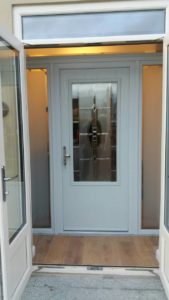 white door with rectangular glass on front
